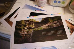 A few of the press proofs. On the top is Kaaterskill Falls, New York, the best place Leatherstocking ever found in the woods