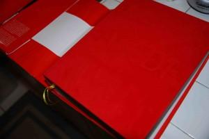 Blind stamping on the velvet cover. 3 bookmarks