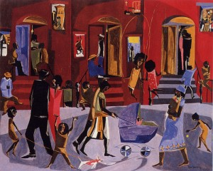 Brownstones - Artist: Jacob Lawrence (Clark Atlanta University Art Galleries)