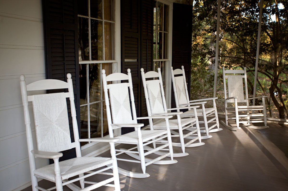 Photo of the front porch at Andalusia — Milledgeville, Georgia