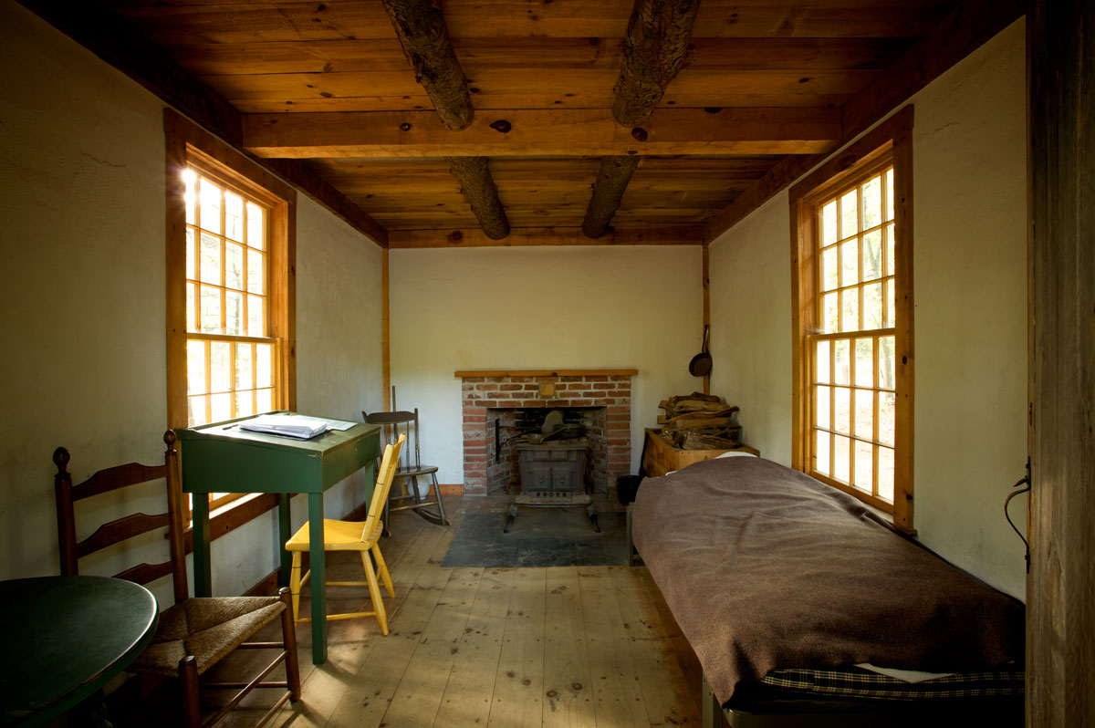Photo of interior of Thoreau's Cabin — Concord, Massachusetts