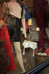 Photo of shop window, lace garter belt  — Brooklyn, New York