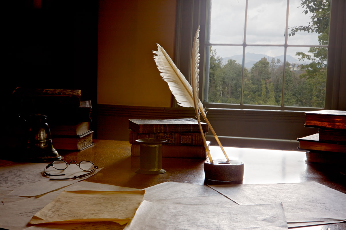 Photo of Herman Melville's study at Arrowhead.