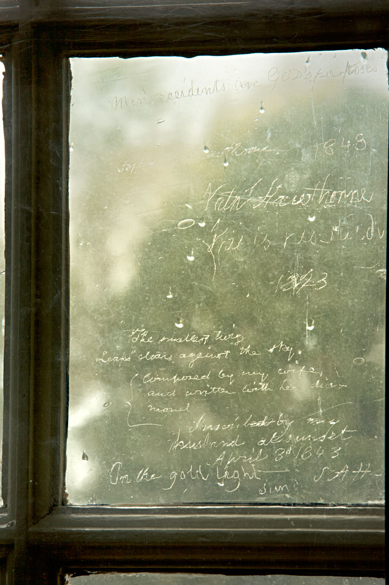 Photo of words etched in the windowpane of Hawthorne's study at the Old Manse. — Concord, Massachusetts