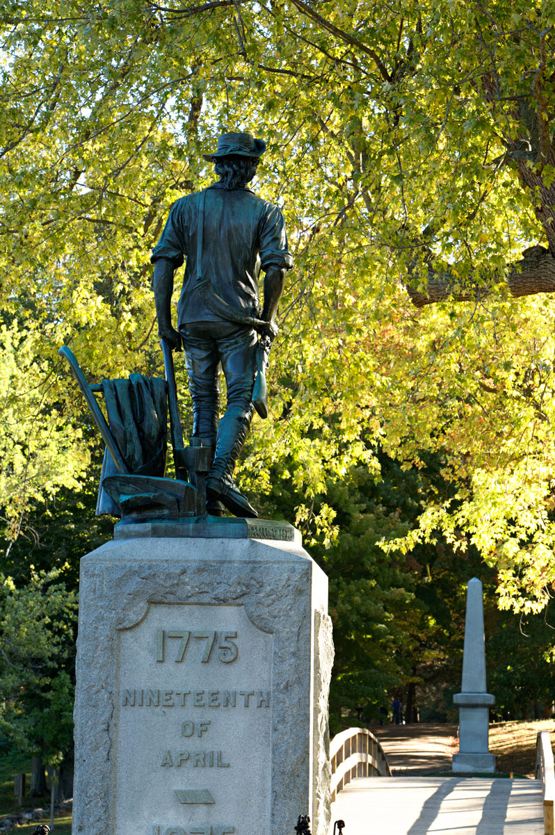 Photo of a Minuteman statue at the North Bridge
