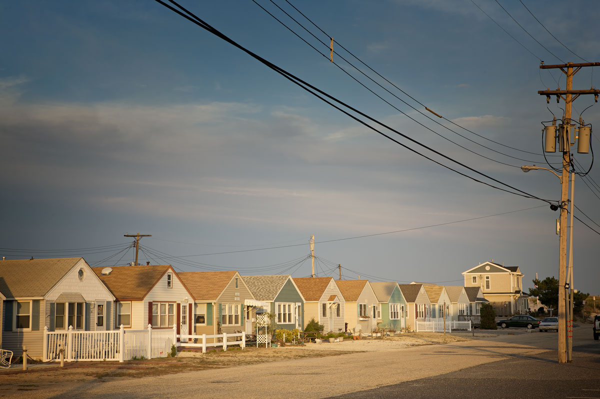 Photo of houses line a street along the Barnegat Peninsula