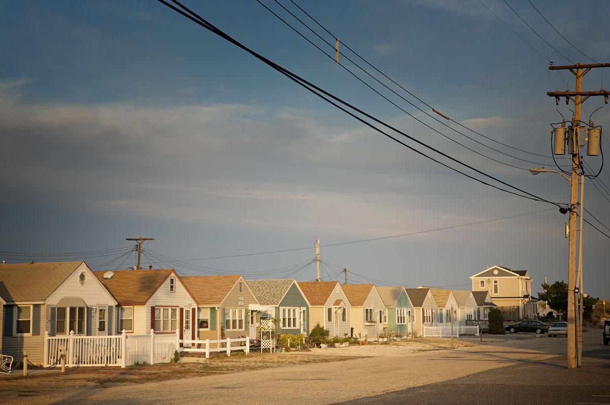 Photo of houses line a street along the Barnegat Peninsula
