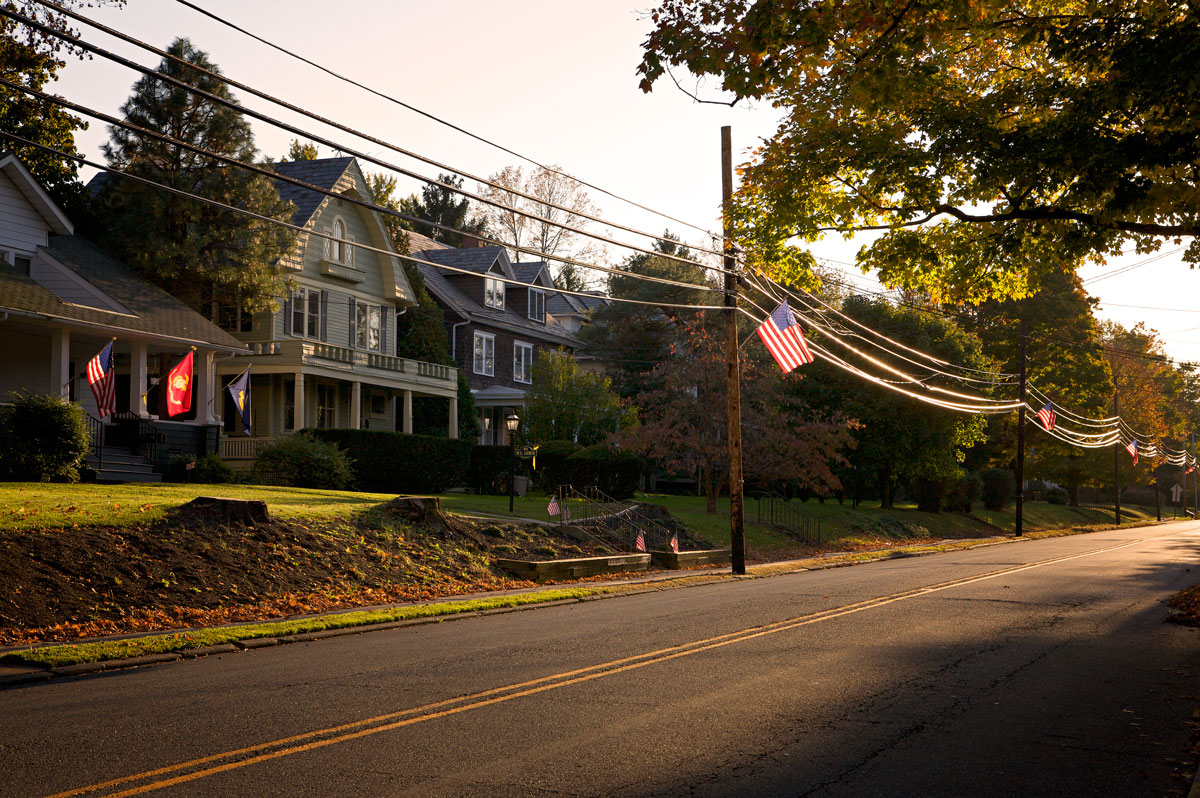 Photo of American flags along a street in Hopewell, New Jersey