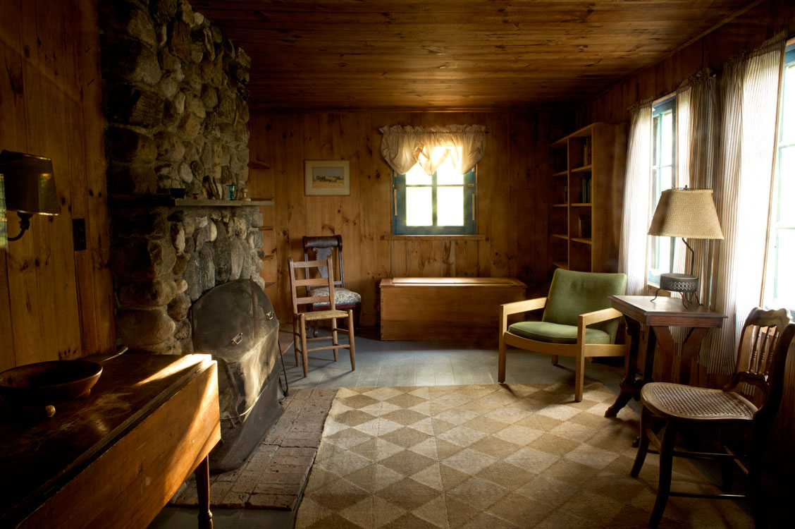 Photo of Interior of the Frost cabin as it still looks today. — Ripton, Vermont