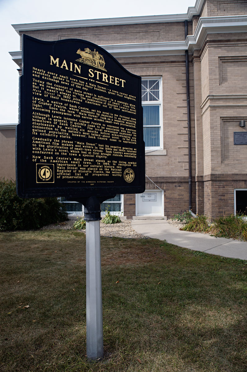 Photo of Main Street history marker — Sauk Centre, Minnesota