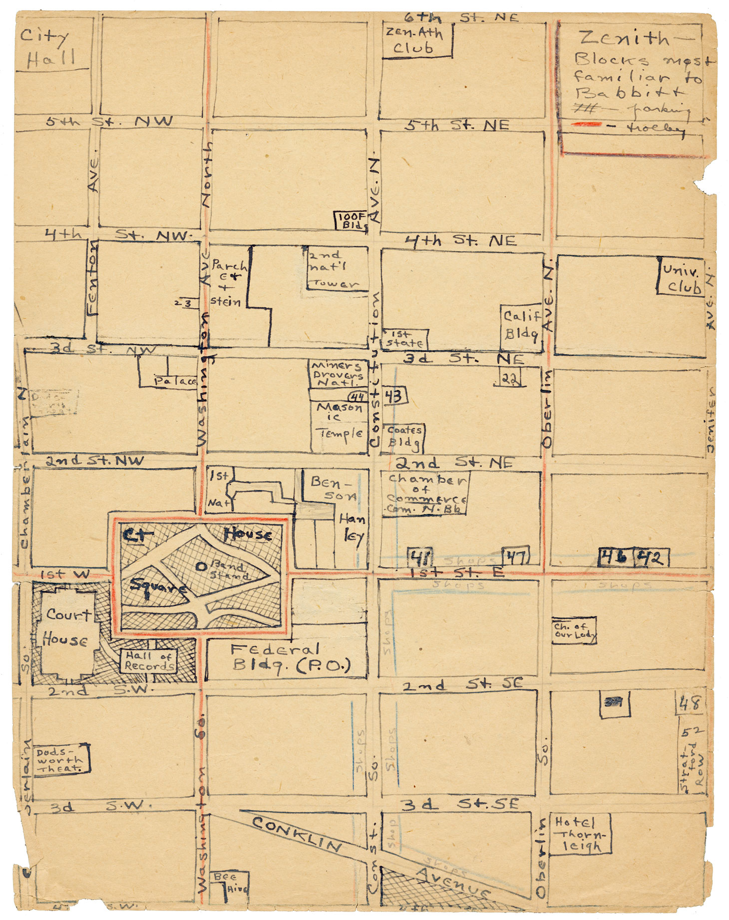 Photo of one of 17 detailed maps Sinclair Lewis drew of Zenith and its environs.
