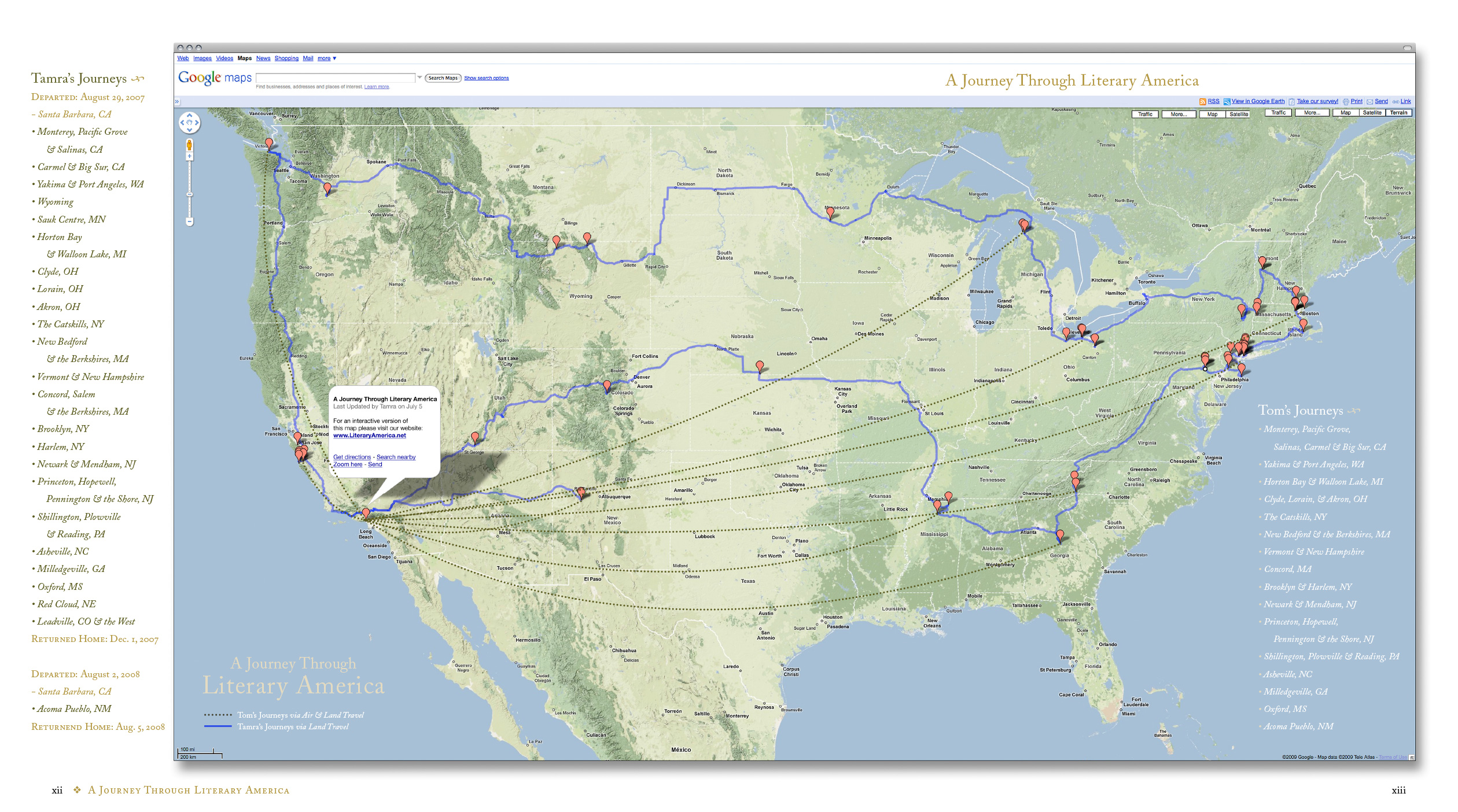 A Journey Through Literary America - Map